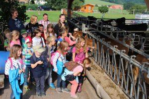 Besuch der Ferienspiel-Kinder auf dem Bauernhof der Familie Meier