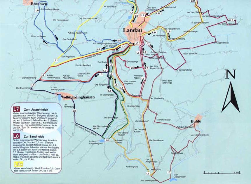 Wanderkarte Landau südlicher Teil