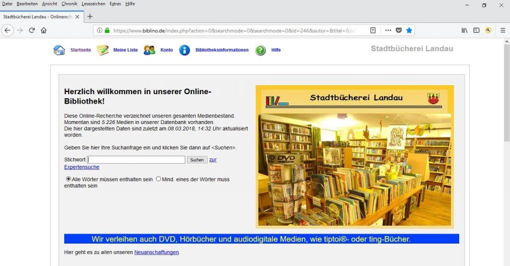 Stadtbücherei Landau online