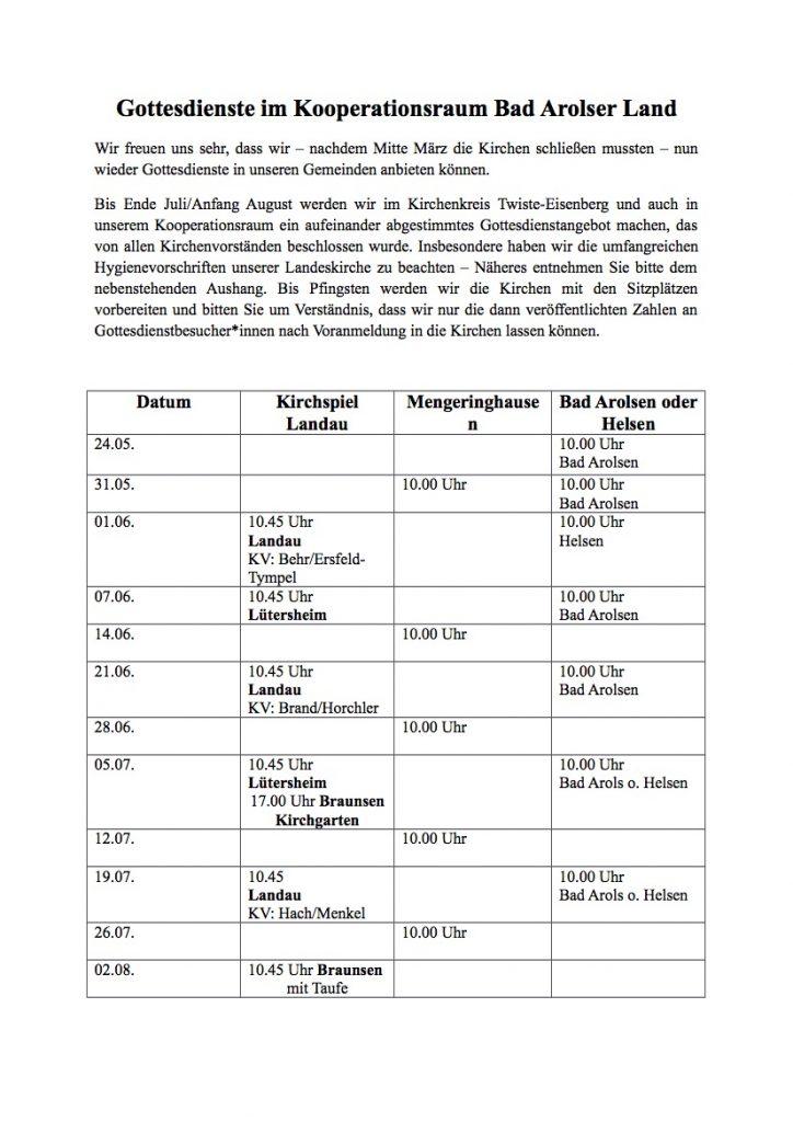 Gottesdienstplan Bad Arolsen Land bis August 2020