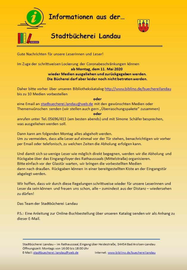 Information zur schrittweisen Öffnung der Stadtbücherei im April 2020