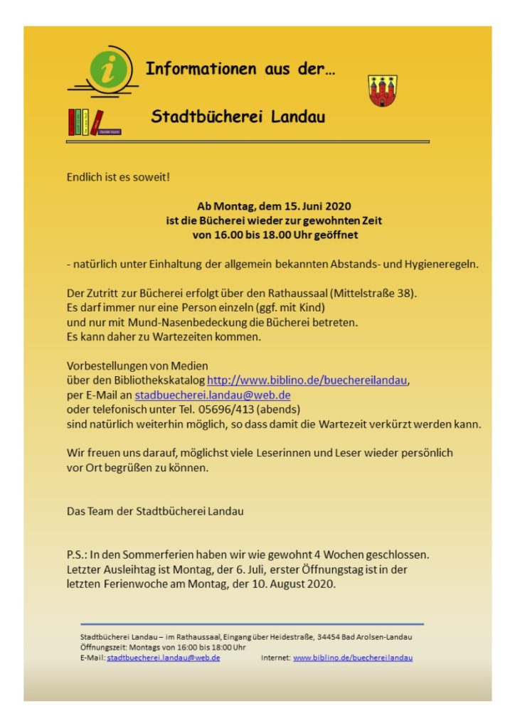 stadtbücherei newsletter Juni 2020
