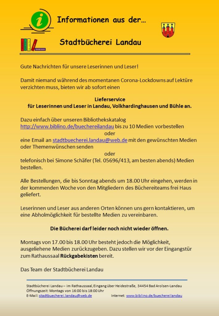 Stadtbücherei-Information 9.1.2021